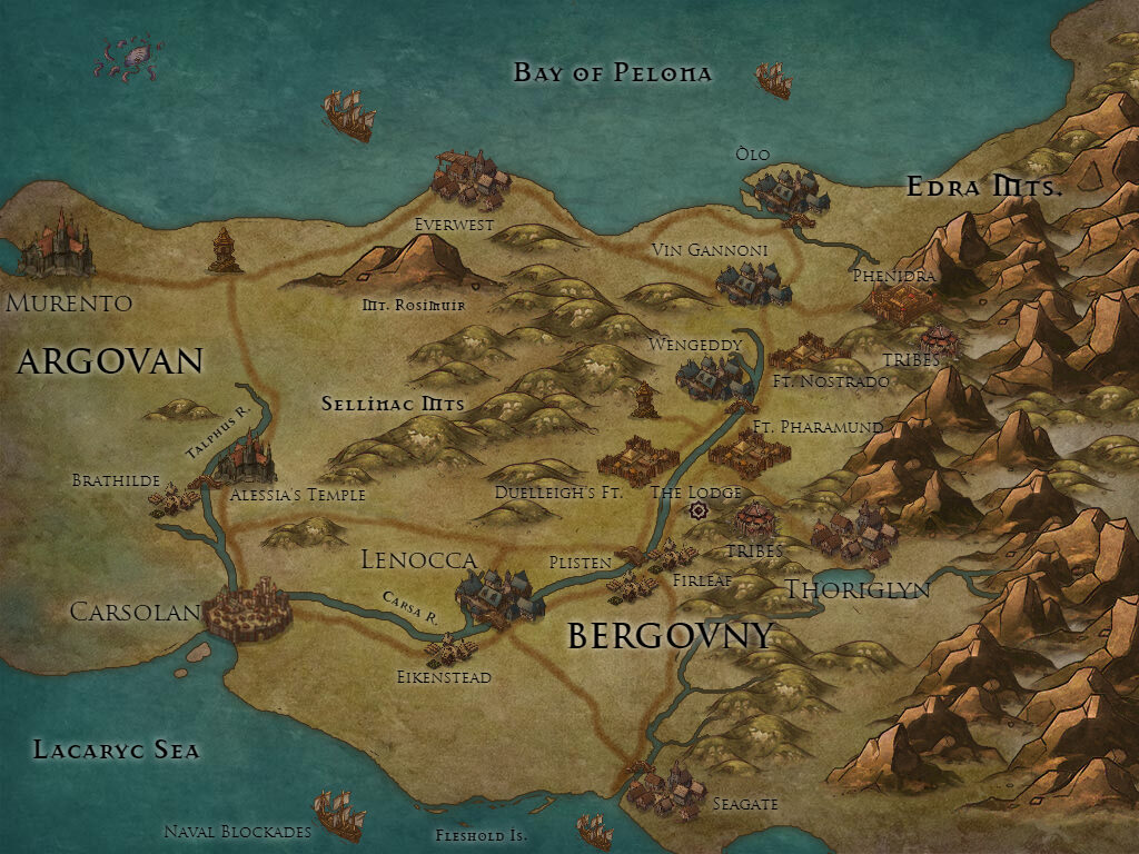 The Heron Kings Greater Argovan fantasy map Eric Lewis author